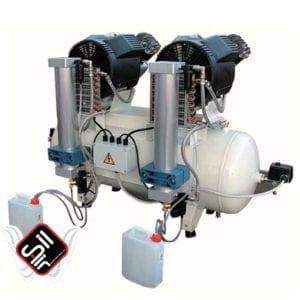 SilAir-Dental Tandem Kompressor mit zwei Motoren, zwei Wärmetauschern und zwei Absorbtionstrocknern montiert an einem 100L Drucklufttank